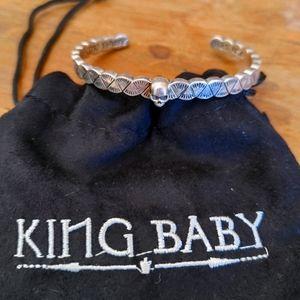 King Baby Sterling Silver Skull cuff bracelet